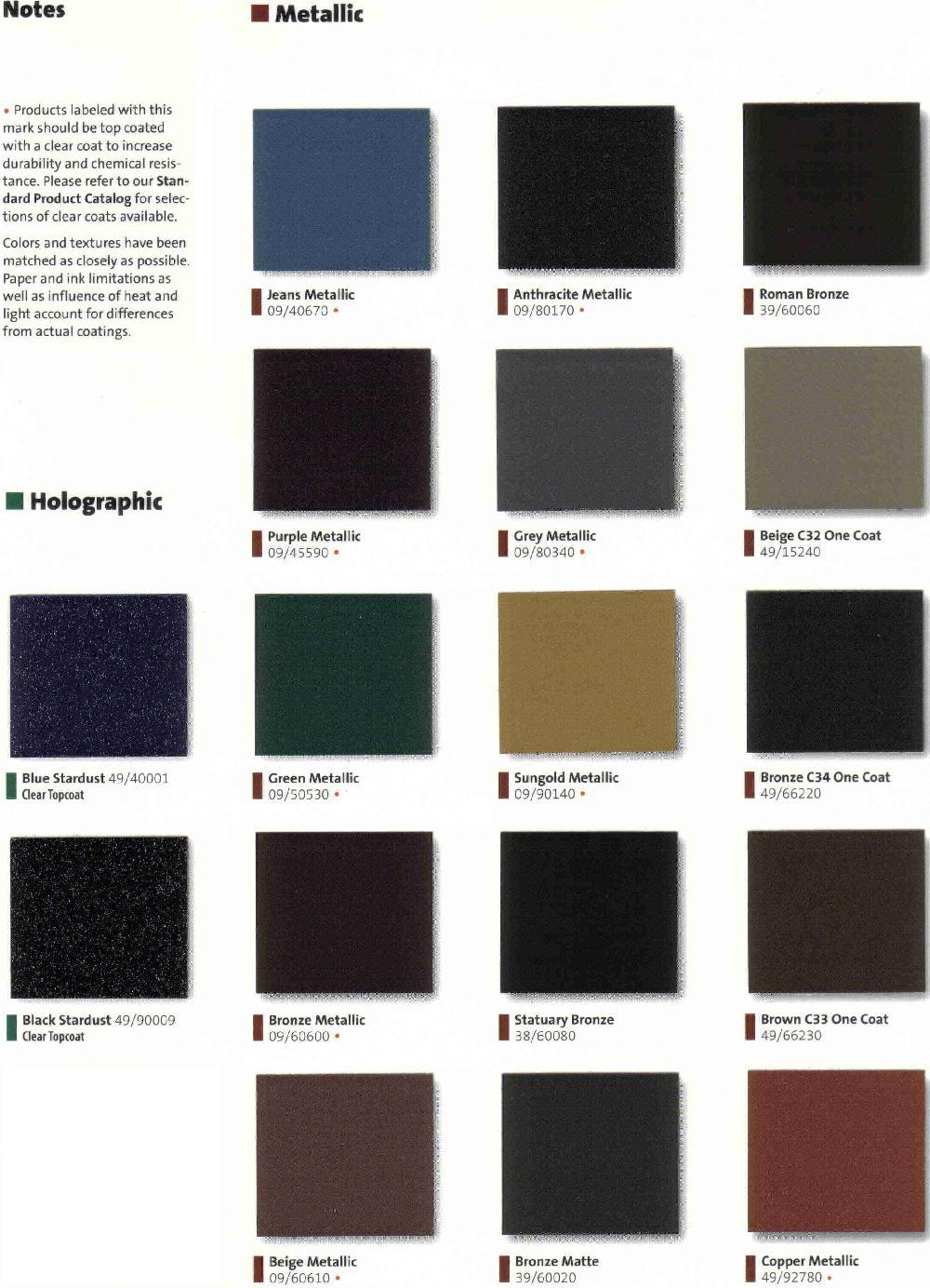 Absolute Powder Coating Llc Color Charts